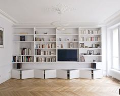 🌟 💖 🌟 💖 C Apartment Atelier Ferret Architectures - sports Facilities, cultural and accommodation Living Room Bookcase, Home Living Room, Living Room Designs, Living Room Decor, Bookshelf Design, Bookshelves Built In, Built Ins, Ideas Decoracion Salon, Library Bedroom