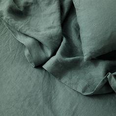 Linen Flat Sheet With Border - Bluestone - CULTIVER- USA Linen Bedroom, Linen Duvet, Master Bedroom, King Sheets, Amber Interiors, Luxury Bedding Sets, Queen, Flat Sheets, Bed Design