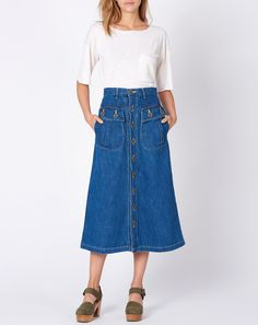 Kapital Denim Military Skirt in Indigo | Covet + Lou