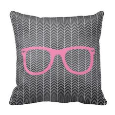 Blackboard Tribal Hipster Pillow - For those creatives who have a unique sense of style, this pillow will suit you perfectly in your bedroom or lounge to cuddle up to. A textured blackboard rests beneath a tribal white pattern with vibrant baby pink hipster glasses on top. Make it a gift for that crazy friend you love, a creative relative, or even a cheeky self-treat!