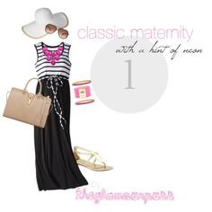 Fresh summer maternity outfit in classic black and white. Fun hints of gold and neon pink add some punch!