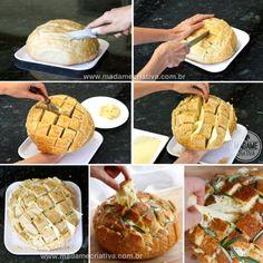 Como fazer pão de pixar com quadrates de queijo derretendo - Receita e dicasr - Pull apart bread with cheese Recipe  - Madame Criativa www.madamecriativa.com.br