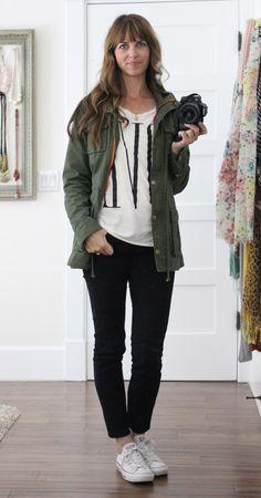 Khaki Jacket/ black + white