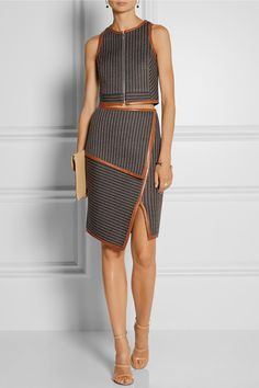 Jonathan Simkhai Leather-trimmed neoprene-bonded jersey skirt NET-A-PORTER.COM