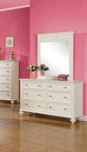 Acme 2pcs. White 6-Drawer Dresser and Mirror Group Athena Set