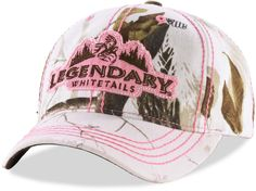 Realtree AP Snow camo with just a touch of pink in the applique and bean stitching for a truly striking cap. Comfortable Velcro back closure - great for ponies!