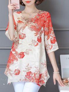 Elegant Floral Print Irregular Hem Blous