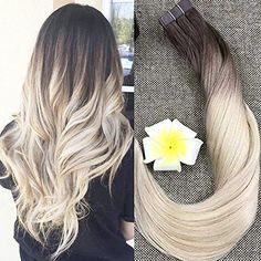 "Fshine 18"" Balayage Hair Extensions Ombre Pu Tape in Hair Extensions Dip Dye Real Hair Extensions Color #3 and #8 Brwon Fading to #613 Blonde Real Hair Glue in Extensions 50g 20 Pcs Per Package: Balayage Ombre Hair is the Symbol of Full Shine Hair. And we are working on improving the quality of hair and tape bonde. We choose the best hair and are changing the tape to find a best tape for our product.brProduct Details/bbrHair Material:Remy HairbrTexture: Straight, and have a natural w..."