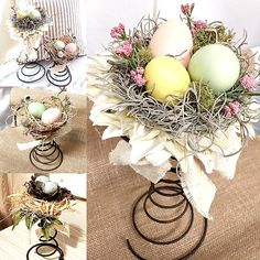Beautiful Vintage Bed Spring Centerpieces DIY vintage bed spring Easter and Spring centerpieces you can make yourselfDIY vintage bed spring Easter and Spring centerpieces you can make yourself Bed Spring Crafts, Spring Projects, Diy House Projects, Spring Art, Easter Crafts, Holiday Crafts, Easter Decor, Easter Ideas, Recycled Decor