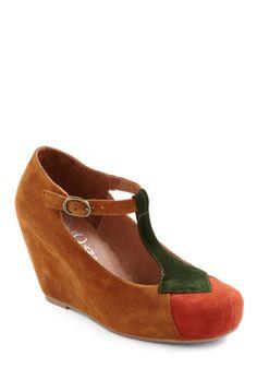 Deciduous Darling Wedge by Jeffrey Campbell - Wedge, Brown, Orange, Green, Color Block, Work, Casual, Fall