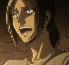 """When you make a really fucked up joke but your crush walks up behind you and says """"What was that? Mikasa, Armin, Ymir And Christa, Female Titan, Attack On Titan 2, Connie Springer, Still Frame, Aot Characters, Best Fan"""