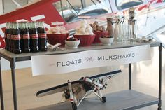 """Floats"" and milkshakes. Not sure how long that ice cream would stay looking so perfect, but it's a cute idea!"