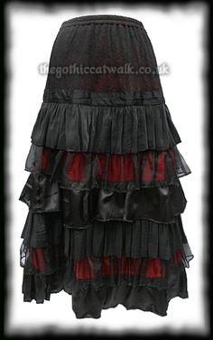 Black & Red Long Frilled Gothic Skirt