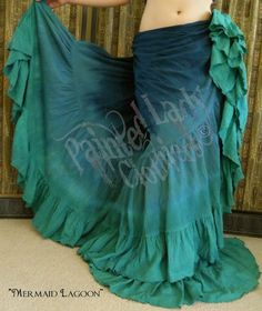 """Mermaid Lagoon"" 25 Yard Petticoat Skirt.  This is an extra long skirt we made for a tall customer.  We custom make all lengths, sizes and color combos.  You can order yours here:  http://www.paintedladyemporium.com/Shop-Here.html"
