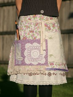 Doily and Linen Patch Market Tote Bag Shabby Chic by nomadictara