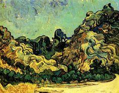 Mountains at Saint-Remy with Dark CottagebyVincent van Gogh   Size: 90.8x71.8 cm Medium: oil on canvas