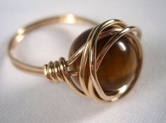 Genuine Tiger Eye Gemstone Ring, Gold Filled Wire Wrapped Ring, Gift Idea for Her, Wire Wrapped Jewelry Handmade