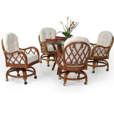 Matagorda Rattan Swivel Tilt Caster Dining Set 6800 by Watermark Living- Rattan and Wicker Furniture Design Center Resin Wicker Furniture, Dining Furniture, Outdoor Furniture Sets, Furniture Ideas, Furniture Design, Rattan Dining Chairs, Wicker Dining Chairs, Kitchen Dining Sets, Dining Room