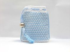 Crochet cell phone case white blue tunisian crochet by Luganika, €8.00