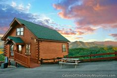 Twilight view at 1-bedroom Pigeon Forge cabin, Smoky's Awesome View