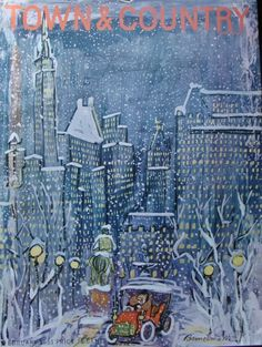 Town and Country, February, 1951 cover by Ludwig Bemelmans