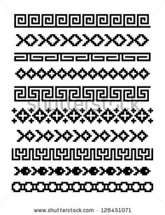 8 Old vector files of ancient Greek design. This Greek old vector pack has great Loom Beading, Beading Patterns, Embroidery Patterns, Cross Stitch Patterns, Crochet Patterns, Border Pattern, Border Design, Blackwork, Mochila Crochet