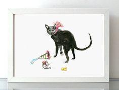 Aquarel zwarte kat en muis Giclee print dier door Zendrawing