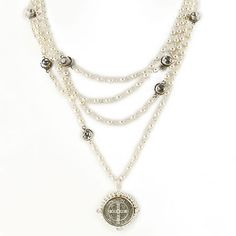 San Benito Magdalena Necklace, Silver Pearl - Diamond Crystals, VSA $222