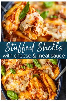 Shells with Meat and Cheese {Italian Stuffed Pasta Shells} VIDEO!, Stuffed Shells with Meat and Cheese {Italian Stuffed Pasta Shells} VIDEO!, Stuffed Shells with Meat and Cheese {Italian Stuffed Pasta Shells} VIDEO! Easy Pasta Recipes, Quick Dinner Recipes, Beef Recipes, Cooking Recipes, Stuffed Pasta Recipes, Easy Italian Recipes, Recipies, Budget Cooking, Vegetarian Cooking