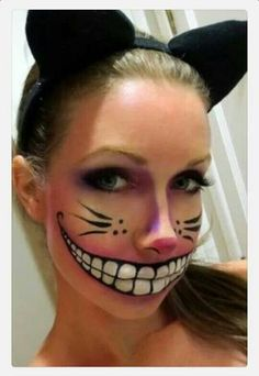 Love this face paint!! Since Cheshire Cat can disappear and only show his smile and eyes, wear all black clothes and paint (other that smile and eyes) to give a more creepy effect!