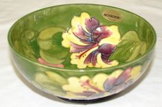 Vintage Walter Moorcroft Pottery Hibiscus Bowl Green English Art Pottery | eBay
