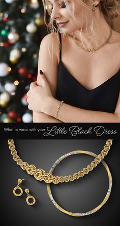 You still want to look stunning in your little black dress, even if the office party is virtual this year. #QualityGold #ContemporaryJewelry #Jewelry #LittleBlackDress #DressAccessories #HolidayParty #DresstotheNines #VirtualOfficeParty
