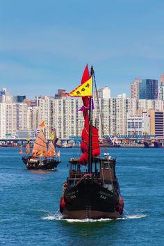 Junks in Hong Kong Harbour