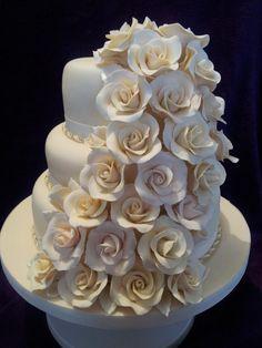My first tiered wedding cake - via @Craftsy