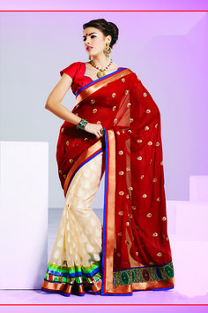 191b24985c301d Shop SIXMETER #Casual Wear Maroon Georgette Saree at 99trendz.com. This is a