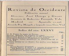 CRONISTA OFICIAL DE CARORA: Ortega y Gasset y la Revista de Occidente