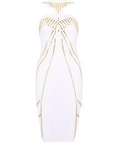 White+Spaghetti+Strap+Bead+Bodycon+Skinny+Dress+US$70.00