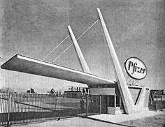 La entrada a los Laboratories Pfizer, Km63, Delegación Santa Ana Tlapaltitlan, Toluca , State of Mexico, Mexico 1958  Arq. Alejandro Prieto Posada y  Félix Candela -  Entrance to Pflizer Laboratoris, Toluca, State of Mexico, Mexico 1958