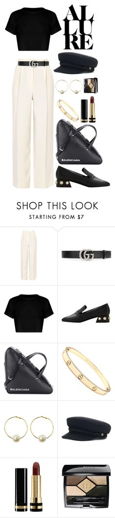 """street style #91: black n white"" by veronicagnzlz ❤ liked on Polyvore featuring The Row, Gucci, MANGO, Balenciaga, Cartier, StyleNanda and Christian Dior"