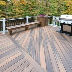This very large deck has angled decking on each side with a fixed bench and planter box in the corner. Deck is made waterproof with Drysnap for additional entertainment below. Outdoor Flooring Options, Deck Flooring, Composite Deck Railing, Deck Railings, Jacuzzi, Deck Patterns, Back Garden Design, Yard Design, Deck With Pergola