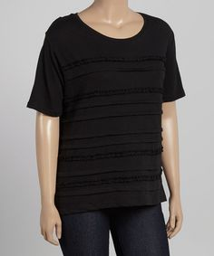 This Black Ruffle-Pleat Top - Plus by Jenny is perfect! #zulilyfinds