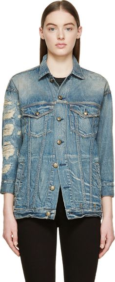 R13 - Blue Shredded Denim Oversized Trucker Jacket