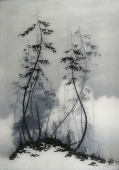 By Brooks Shane Salzwedel, carefully layered mixed media and drawing to make these really unique landscapes. It adds so much depth to each piece just by having several layers of images built up on one another.