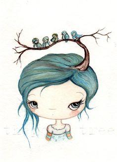Bluebirds in My Tree by The Poppy Tree