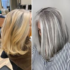 Stylist shows gorgeousness of grey hair instead of covering it up Grey Blonde Hair, Golden Blonde Hair, Grey Hair Roots, Daniel Golz, Grey Hair Transformation, Gray Hair Highlights, Natural Hair Styles, Short Hair Styles, Transition To Gray Hair