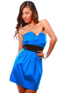 1015store.com-Empire waist cobalt blue tulip tube cocktail dress-D-2036-$15.00