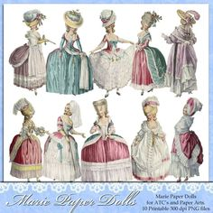 Marie Antoinette images by Darvahlous via Etsy. This and other sets of vintage fashion plate ladies can be seen at http://www.etsy.com/shop/Darvahlous?ref=seller_info