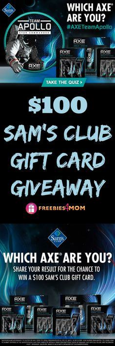WIN my $100 Sam's Club Gift Card Giveaway http://freebies4mom.com/teamapollo  ad  TAKE QUIZ to find out if you're on AXETeamApollo -or- AXETeamPhoenix ?