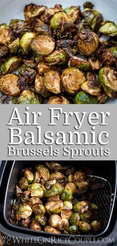 Super Easy Air Fried Brussels Sprouts Recipe in the Air Fryer that's crispy and amazing! Crispy recipe for brussels sprouts in air fryer for low fat paleo Air Fryer Dinner Recipes, Air Fryer Oven Recipes, Beach Dinner Recipes, Air Fryer Recipes Vegetarian, Air Frier Recipes, Clean Eating, Air Fryer Healthy, Weight Watchers Desserts, Sprout Recipes