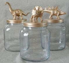 CUMPLEAÑOS INFANTILS ----- Gold Dinosaur Canisters - Animal Jars - Gold Dinosaurs